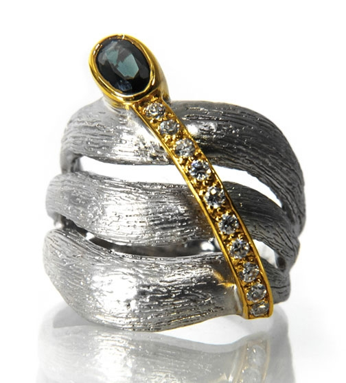 Alletti Jewelry two-tone gemstone wrap ring