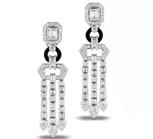 Martin Flyer Deco Entice diamond drop earrings
