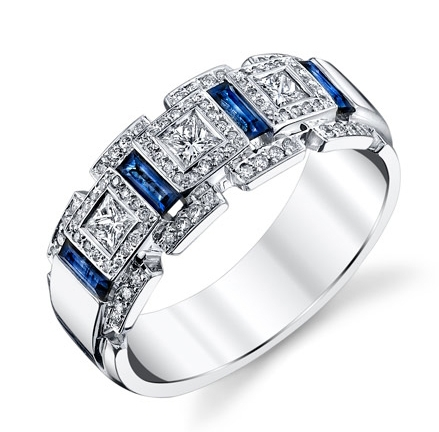 Gregorio Jewelry mens' sapphire and diamond band