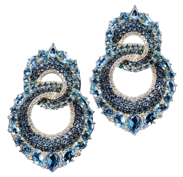 Judith Ripka Oasis blue topaz link earrings