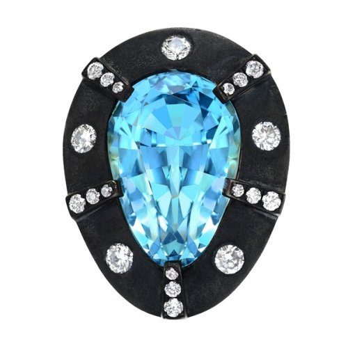 Tamir aquamarine blackened ring