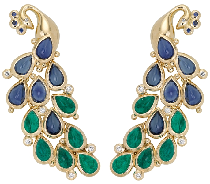 Temple St. Clair emerald and sapphire peacock earrings