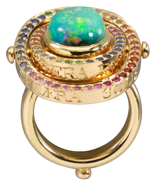 Temple St. Clair black opal Tolomeo ring