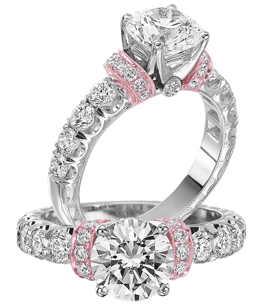 Jack Kelege rose gold accent diamond engagement ring