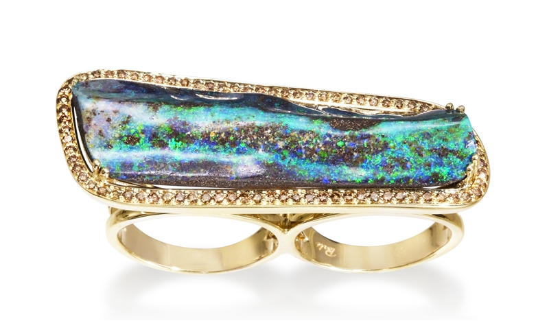 Parle Jewelry Designs Boulder opal two-finger ring