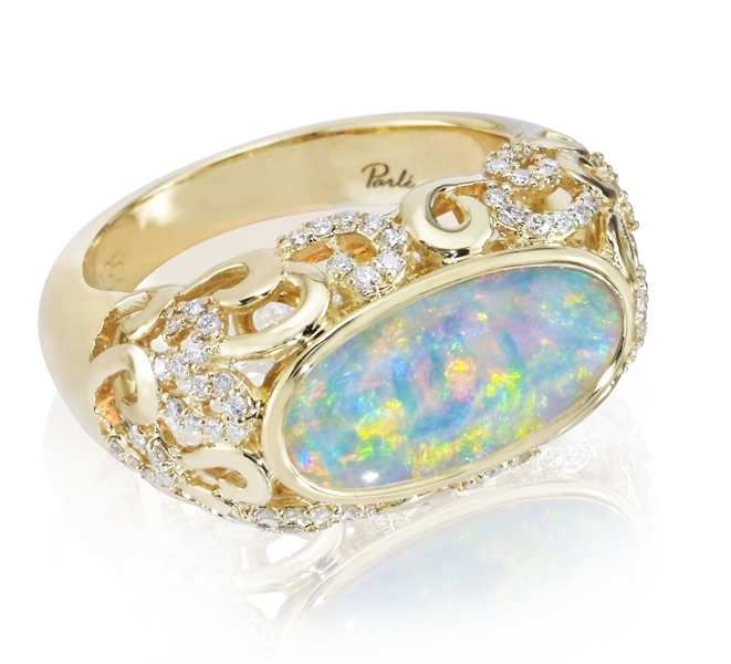 Parle Jewelry Designs freeform opal ring