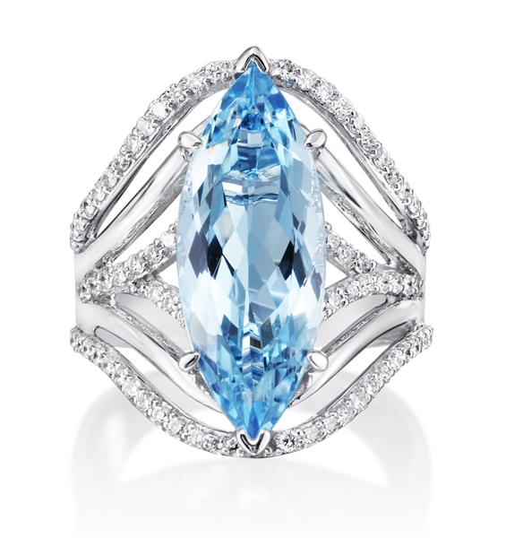 Parle Jewelry Designs marquise aquamarine ring