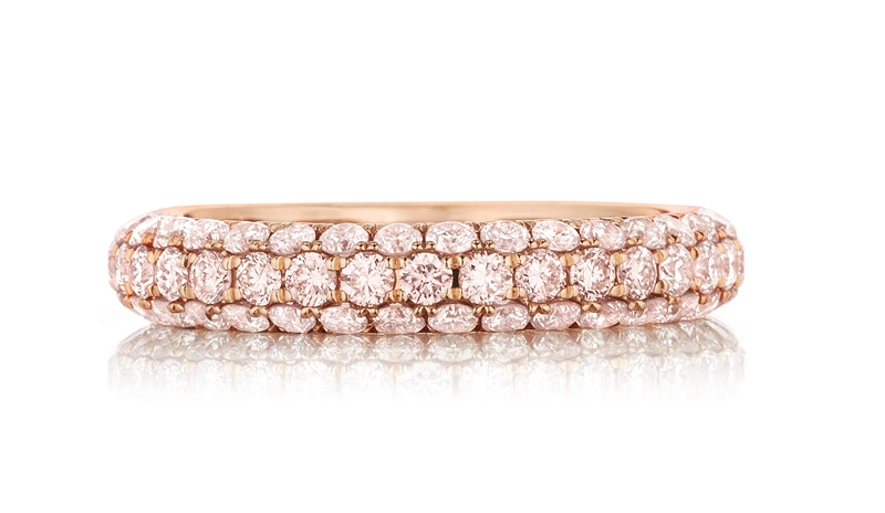 Henri Daussi pave pink diamond band