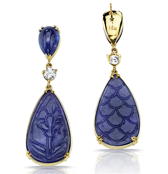 Pamela Huizenga carved kyanite drop earrings