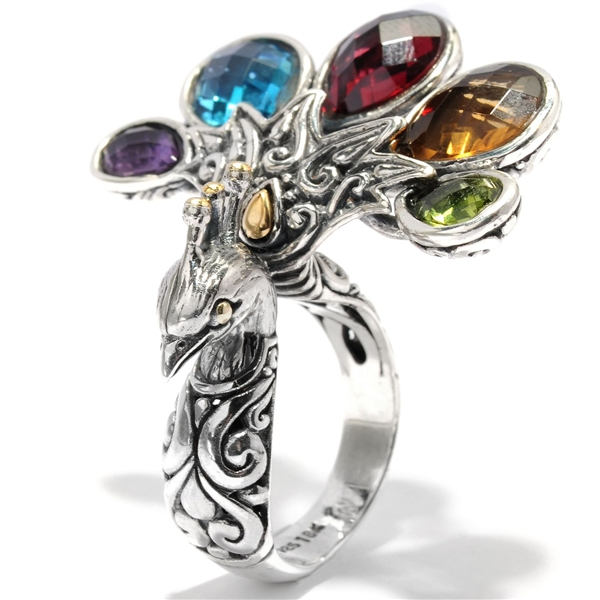 Samuel B. multicolor gemstone peacock ring