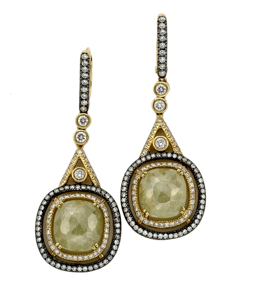 Galleria Collections rough yellow drop earrings