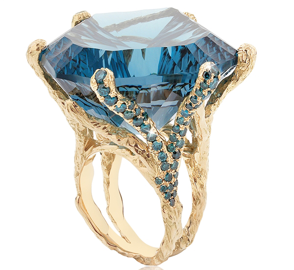 Natalie Dissel Blue Velvet cocktail ring
