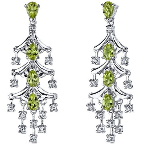 SilverMasterpiece peridot chandelier earrings