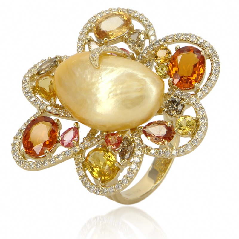 Classic Jewelry Company baroque pearl flower ring