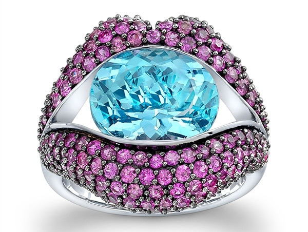 Loretta Castoro KissMe pink sapphire and blue topaz ring