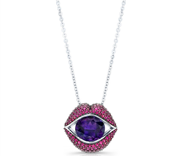 Loretta Castoro KissMe ruby and amethyst pendant