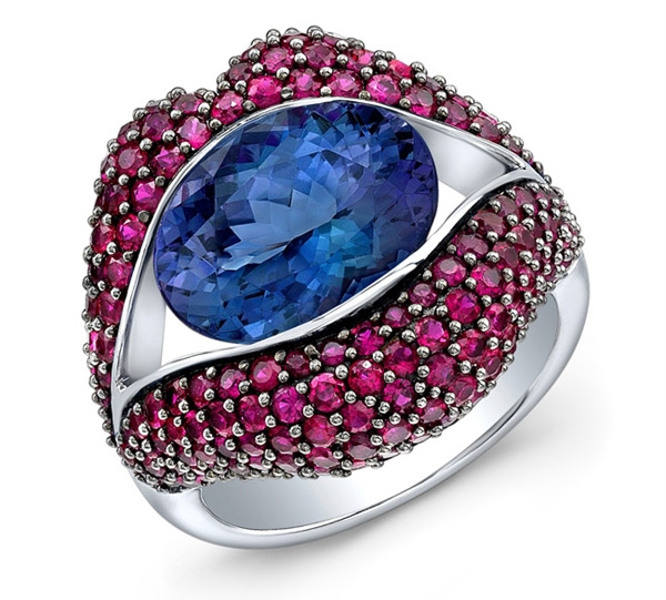 Loretta Castoro KissMe ruby and tanzanite ring