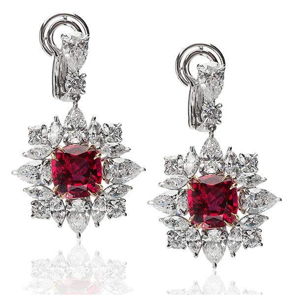 Jack Abraham cushion ruby and diamond drop earrings