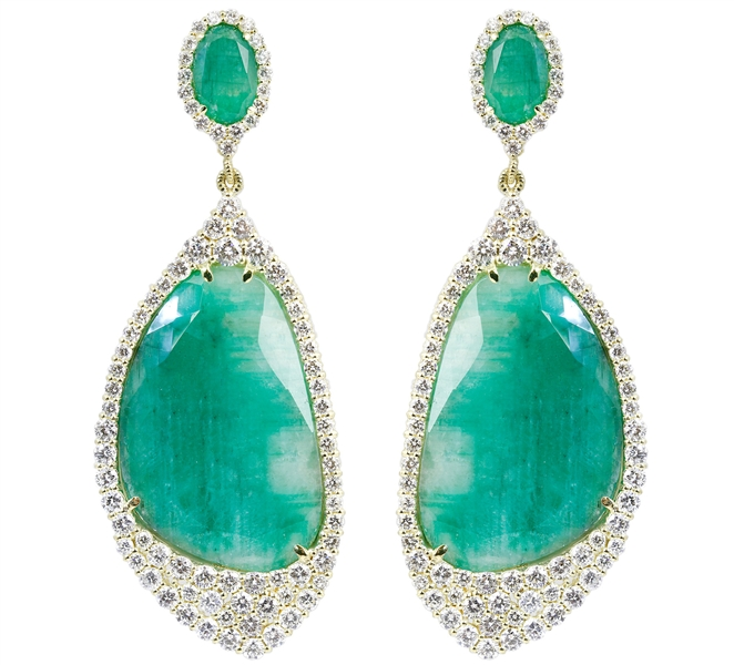Judith Ripka emerald Town Country earrings