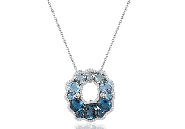 Bassali Jewelry blue topaz wreath pendant