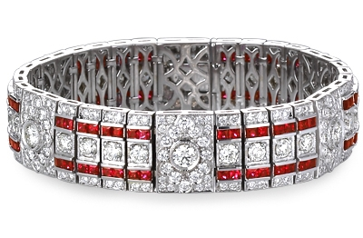 Ziva Jewels Art Deco style ruby and diamond bracelet