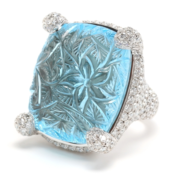 Rina Limor carved aquamarine cocktail ring