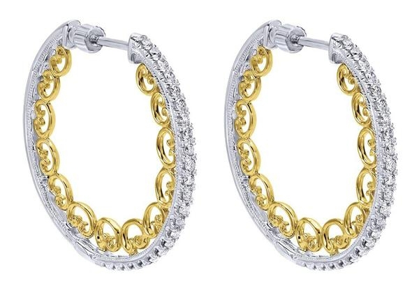 Gabriel & Co. two-tone diamond hoop earrings