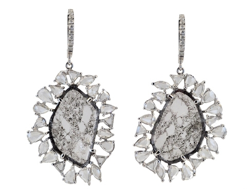 Royal India USA diamond slice and rose-cut earrings