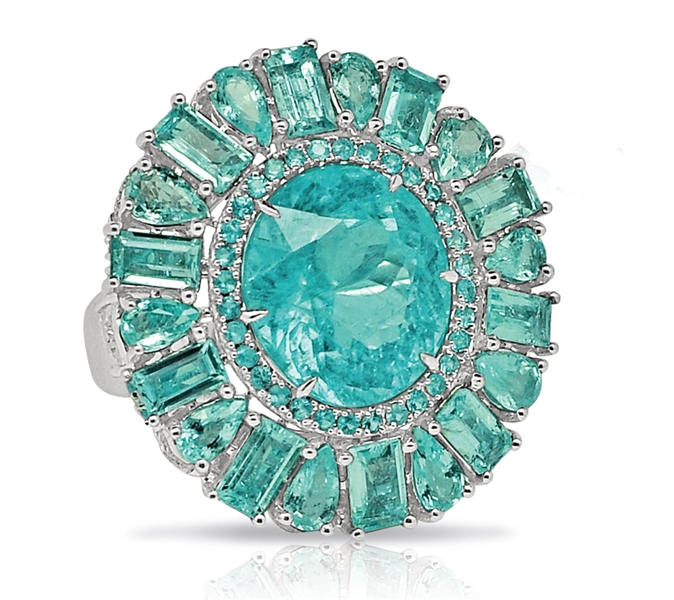 Sutra round paraiba cocktail ring