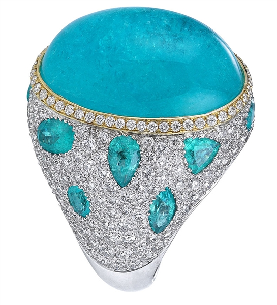 Akiva Gil paraiba cabochon cocktail ring