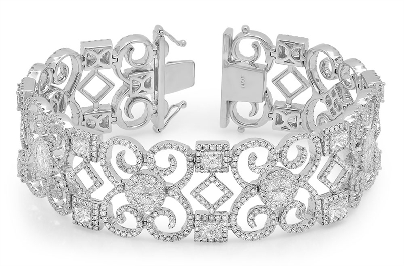 Benjamin and Co ornate diamond link bracelet