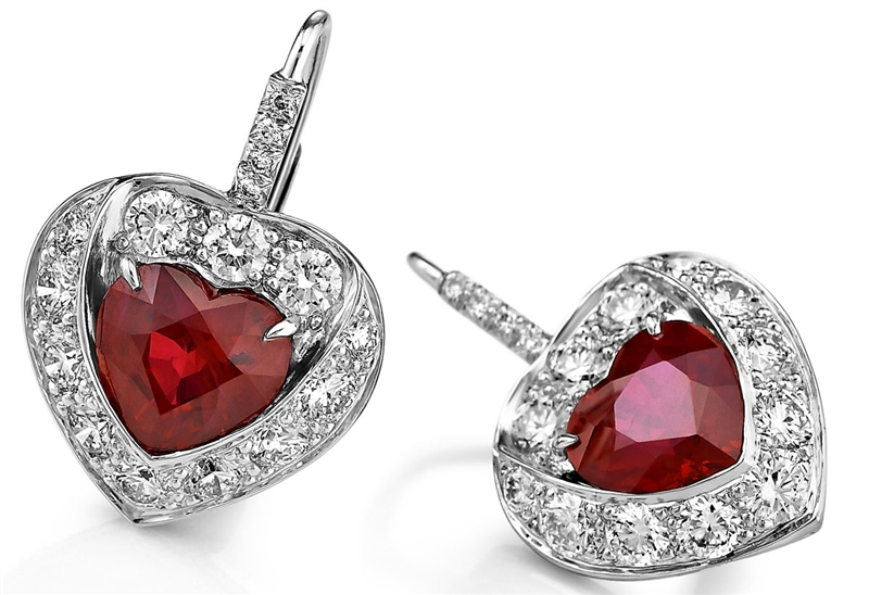 Akiva Gil heart-shape ruby platinum earrings