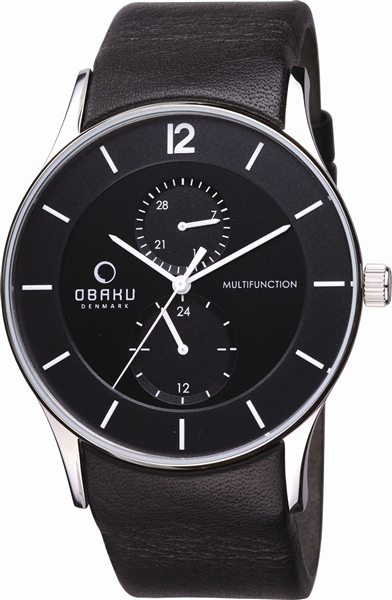 Obaku black leather sport watch