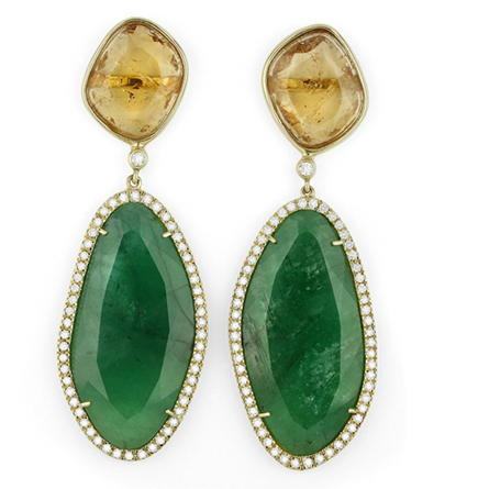 Facet Barcelona natural emerald and imperial topaz earrings