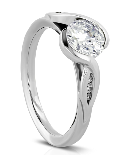 diamond engagement low profile setting prong u set platinum rings in solitaire shape ring