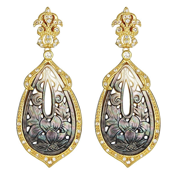 Cristina Sabatini Orchid mother of pearl vintage earrings