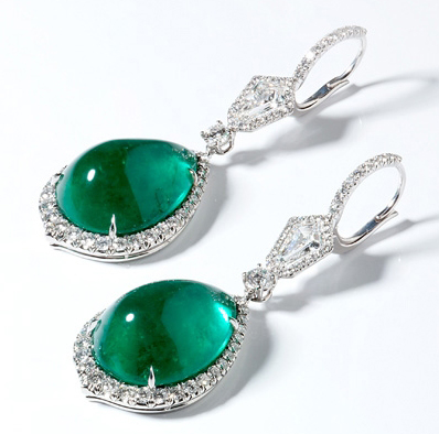 Bayco Colombian emerald cabochon earrings