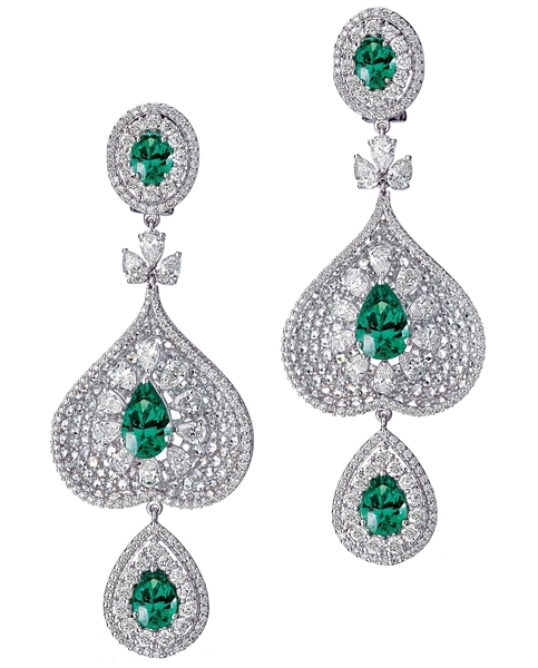 Bapalal Keshavlal emerald and diamond spade earrings