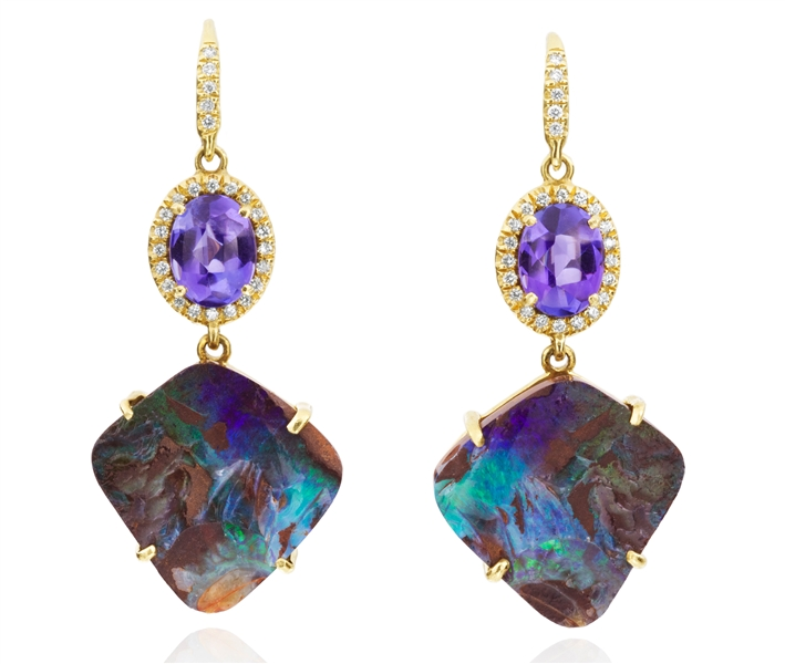 Lauren K Gemma opal and tanzanite drop earrings