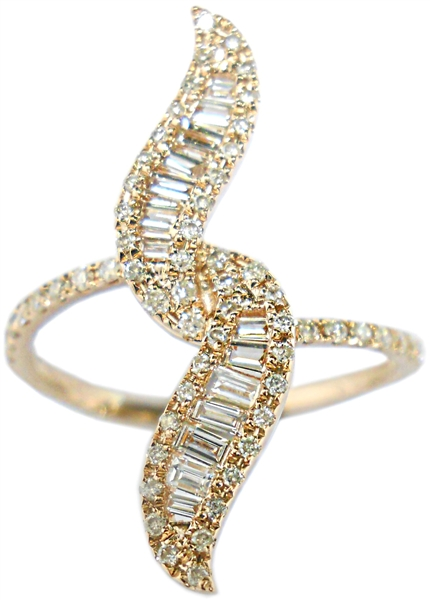 Shay double vertical baguette diamond ring