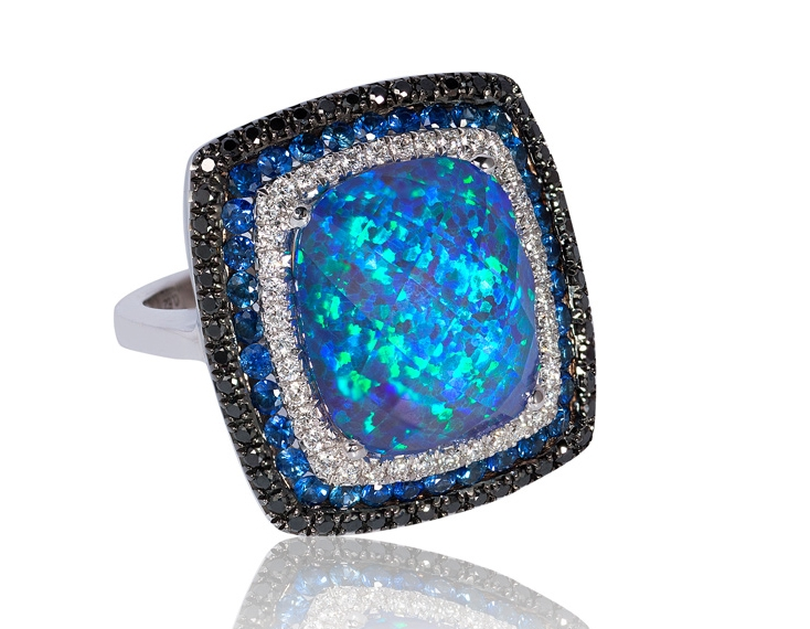 Bassali opal triplet cocktail ring