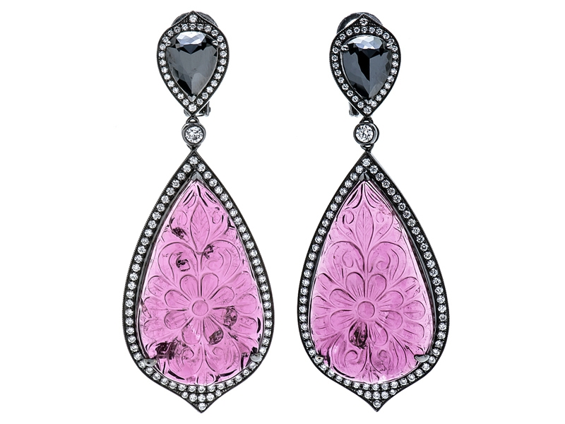 Pink Diamond carved pink tourmaline earrings