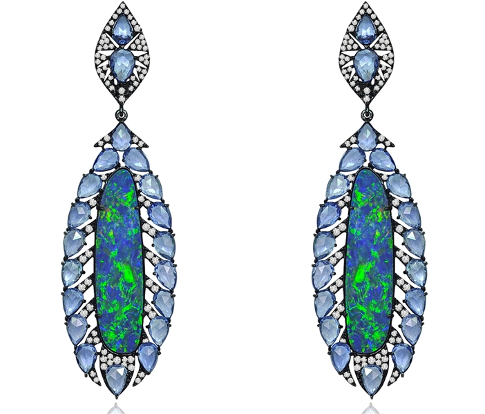 Sutra Jewels narrow opal and sapphire drop earrings