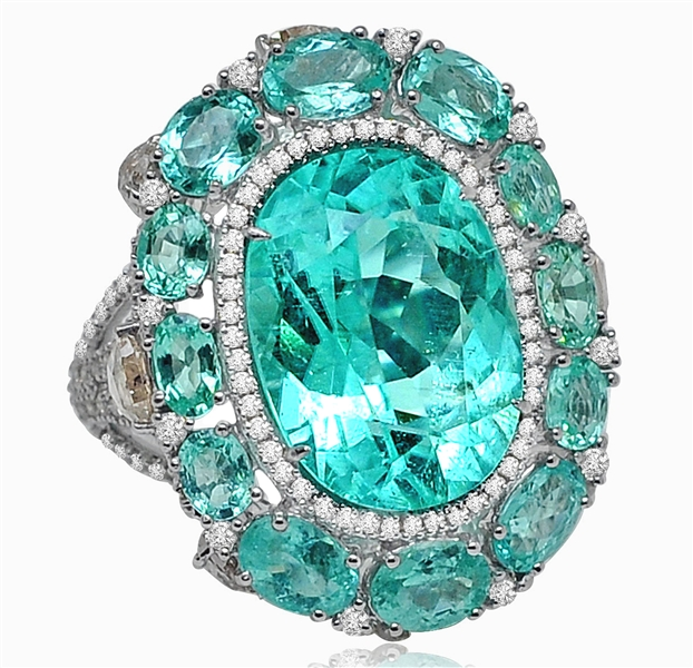 Sutra oval paraiba cocktail ring