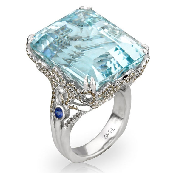 Yael Designs Infinity Pool aquamarine ring