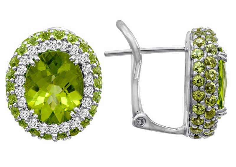 Pe Jay Creations oval peridot and diamond earrings