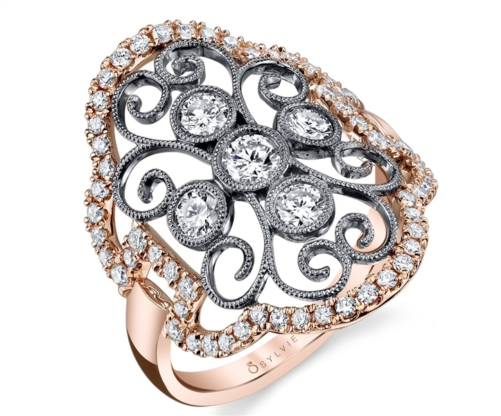 Sylvie collection two-tone vintage-style diamond ring