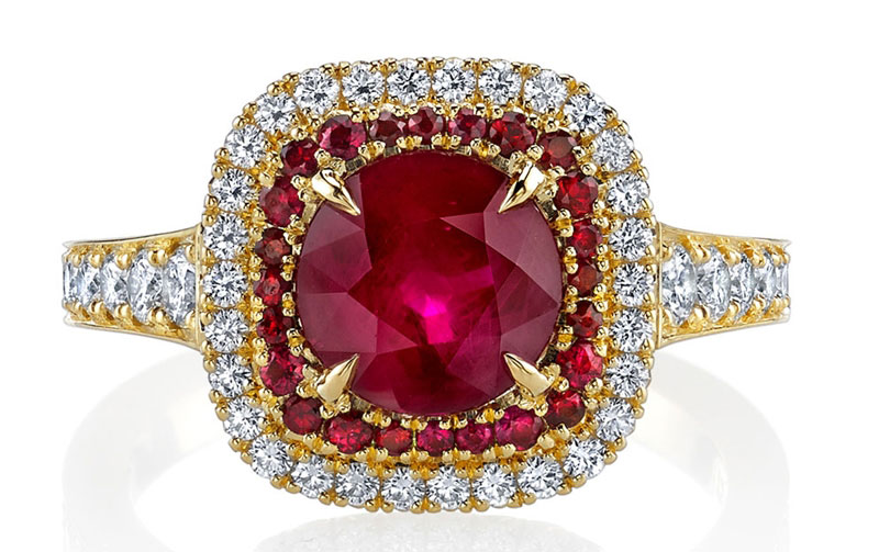 Omi Prive double halo ruby and diamond ring