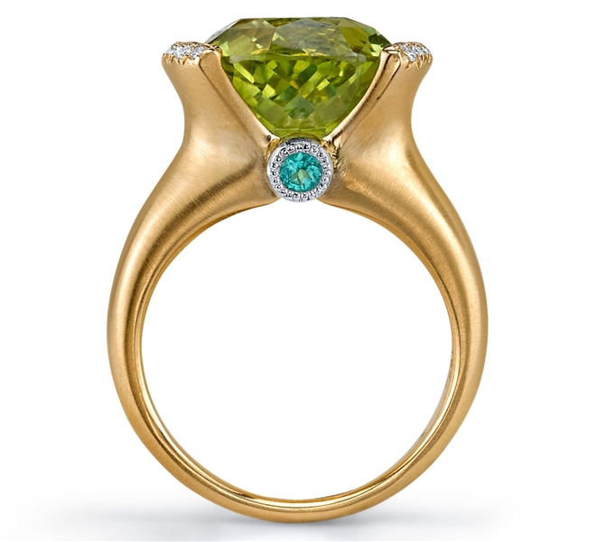 Omi Prive chrysoberyl and paraiba ring