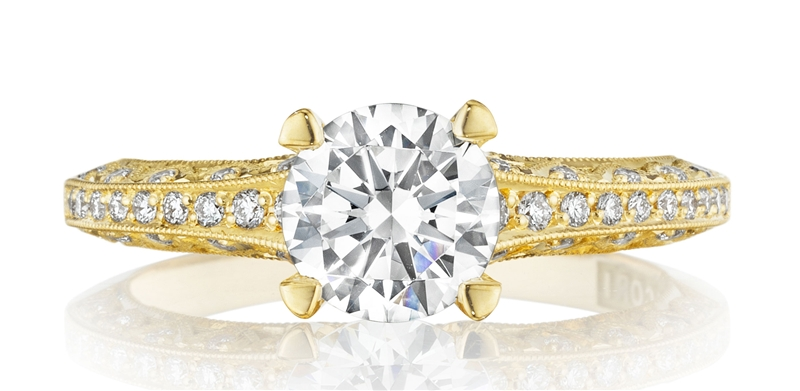Tacori Classic Crescent gold engagement ring